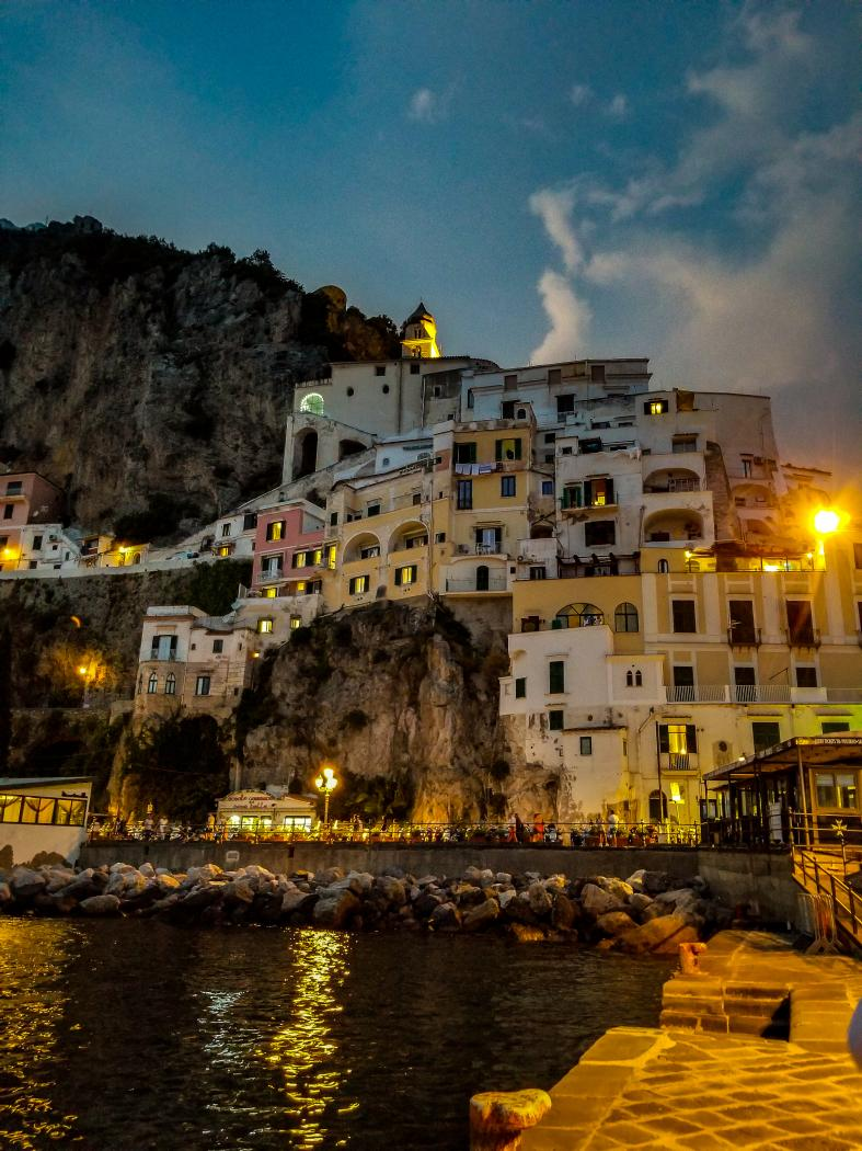 Amalfi ferry docks after sunset